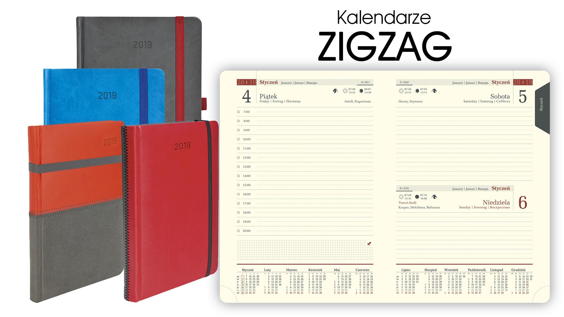 Genialny Kalendarze książkowe ZIGZAG A5 dzienne 2019 | CENTRUM KALENDARZY WL75