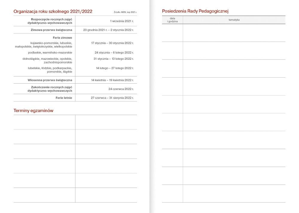 Kalendarz nauczycielski A5 tygodniowy