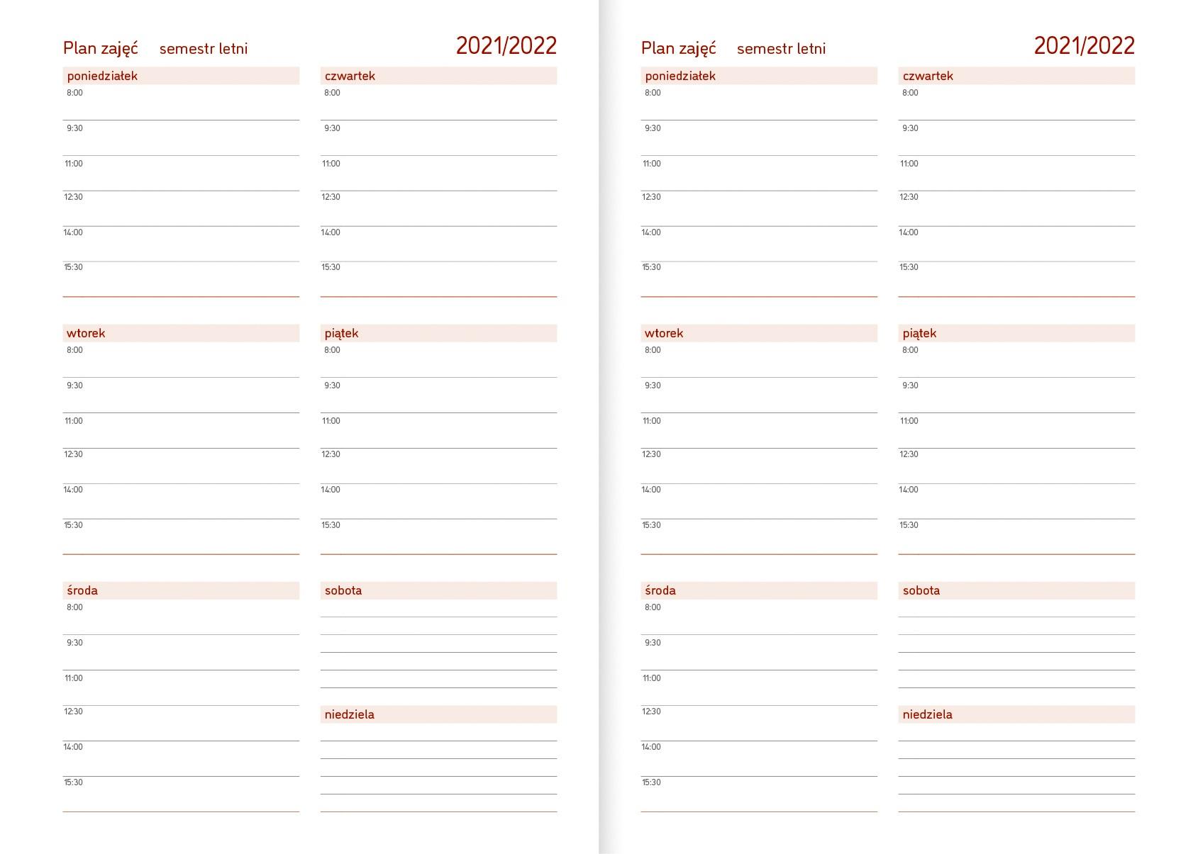 Kalendarz akademicki A5 tygodniowy