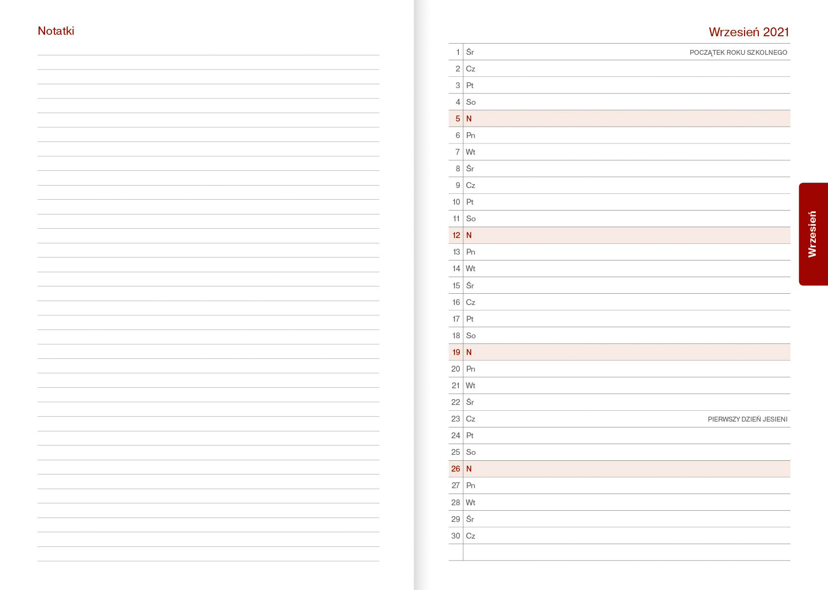 Kalendarz nauczycielski A5 dzienny