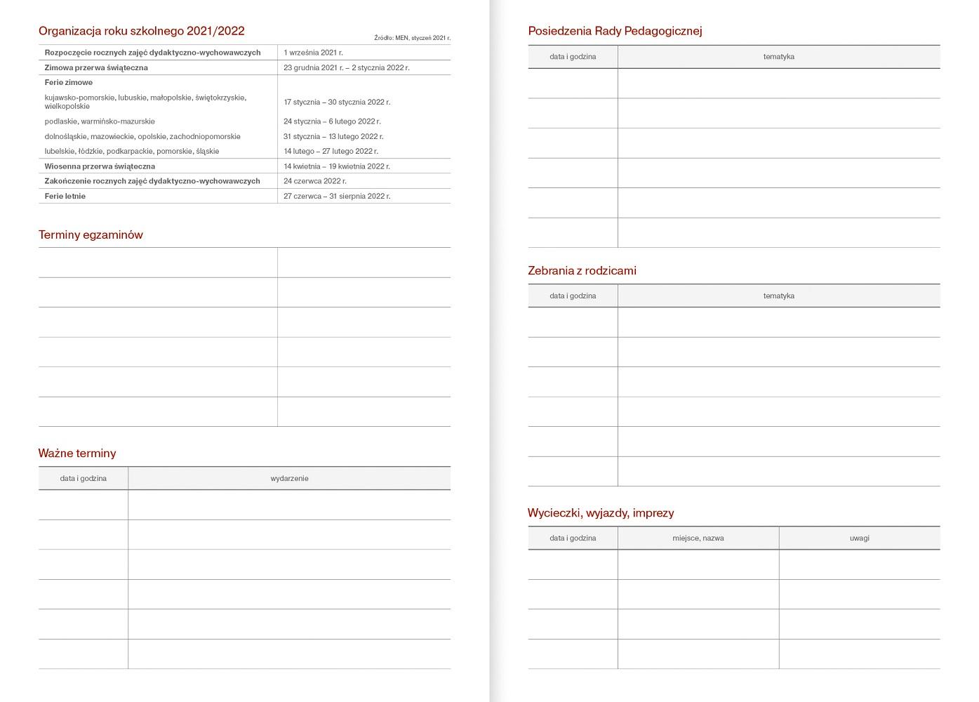 Kalendarz nauczycielski B5 tygodniowy