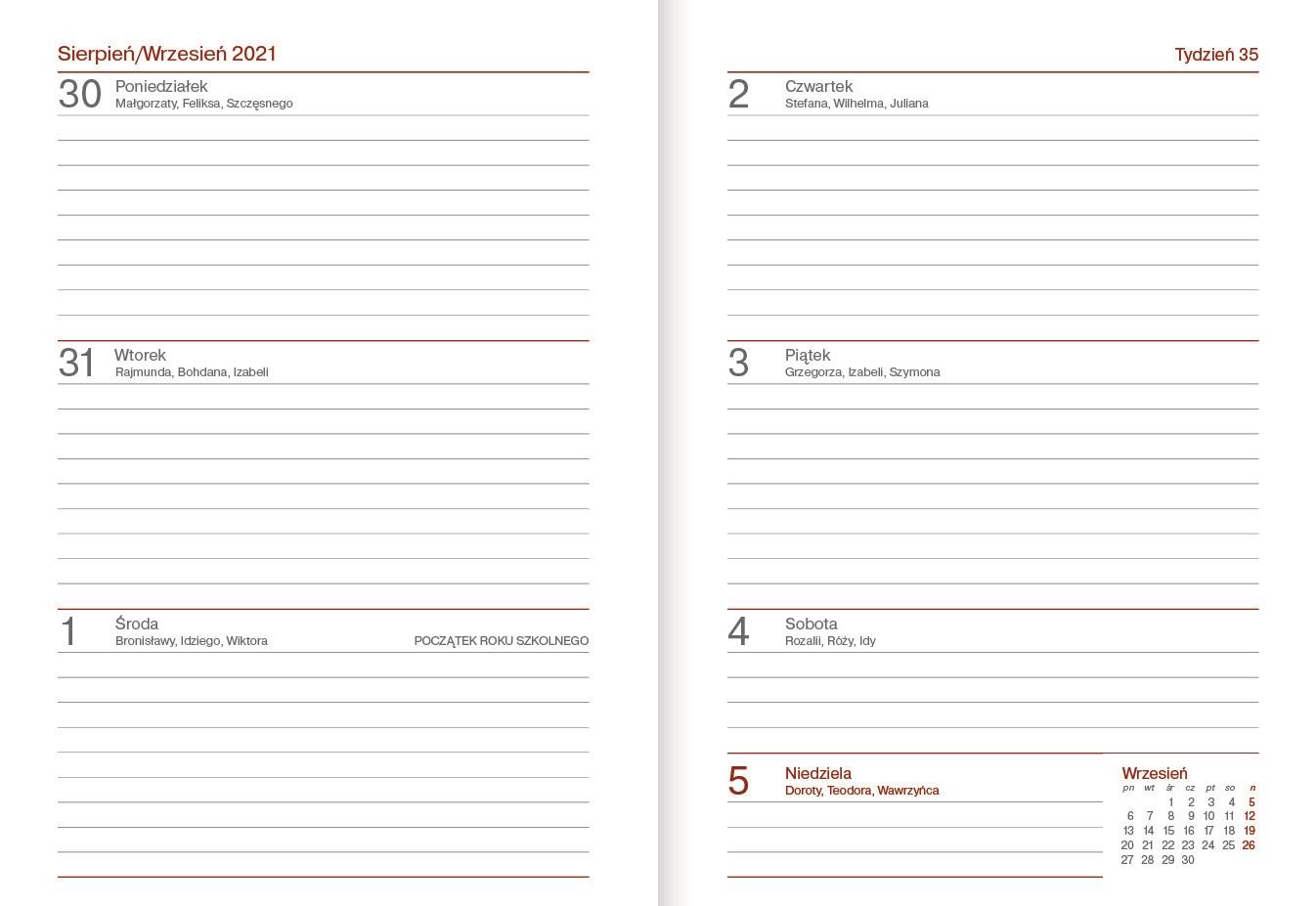 Kalendarz nauczycielski B6 tygodniowy