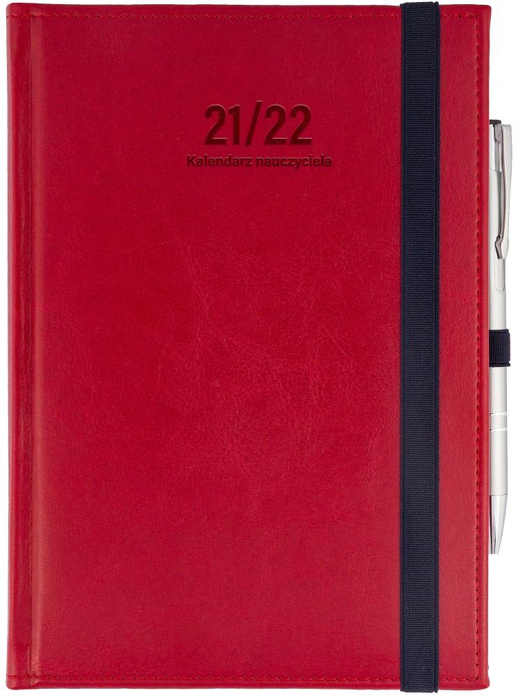 Kalendarz nauczyciela A5 dzienny | Nebraska z gumką - czerwona