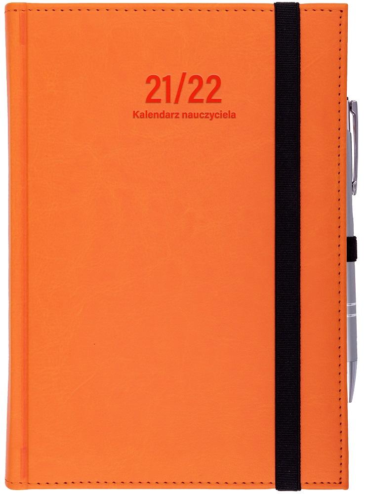 Kalendarz nauczyciela A5 dzienny | Nebraska z gumką - pomarańcz